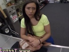 Behind counter blowjob in pawn shop and
