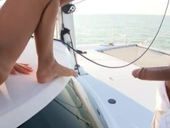 Millionaire MILF fucks the Bellboy on her yacht with her feet and toes