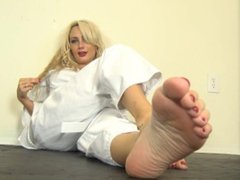Hot karate blonde foot tease JOI