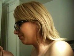 Cammie from DATES25.COM - Blonde with glasses face cumshot