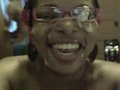 Joni from DATES25.COM - Black girl in glasses webcam blowjob with creamy facial