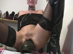 Rosana from DATES25.COM - Female huge anal dildo ride with wrecked asshole