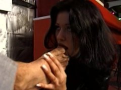 Cute girl in leather sucks men's toes and licks ass