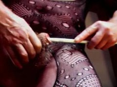 shemale transvestite in pantyhose nylon and sounding urethral cock in anal