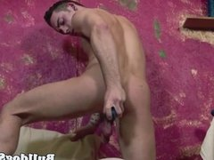 Solo british hunk toying his ass with dildo