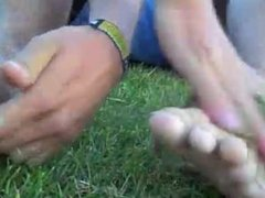 Jared gets his feet tickled - Ryders Block