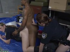 Police uniform and sucking cop in car