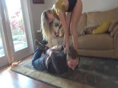 Guy tied up and gagged by two girls