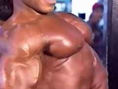 Muscle Pecs Up Close Lots of Flexing