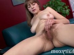 Big Tit Brunette Girl Strips And Fingers Her Hairy Pussy