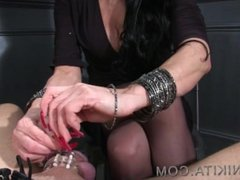 Long Red Nails peehole insertion