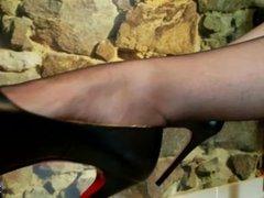 PantyHose Nylon High Heels Chastity Leather Fetish