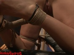 Nipple punished slave spanked with dildo