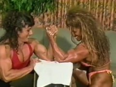 two strong girls armwrestling