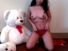 Tana LIVE on 720CAMS.COM - Sexy brunette playing teddy bear on webcam