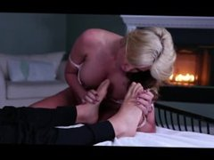 Blonde chic licks and sucks her BF's feet and toes