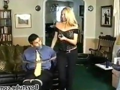 man bound and panty gagged by girlfriend