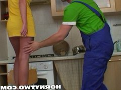 Very pretty blonde bitch lets handyman fuck her cunt and