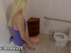 Roxy giving BJ in POV style in public toilet
