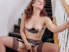 Redheaded milf Helena masturbating in thigh high stockings and panties