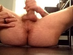 Jerking my cock and showing my ass