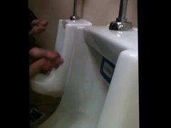 Twin dicks jerked off in toilet