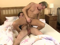 Blond dude rides his buddy's gay cock