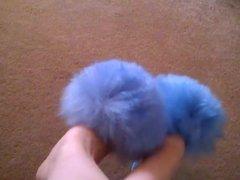 Retro 1970s Fluffy Sheepskin blue Slippers