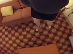 Hotel Fun Black Skirt, Heels and Stockings