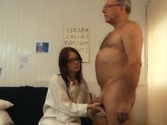 Close-up sex treatment for old patient fucked by kinky teen doctor