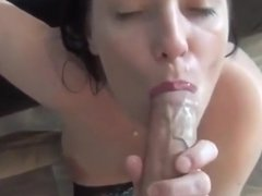 Cute girl takes a cum shot with a golden piss chaser