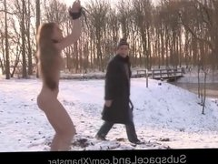 Bondage punishment in the snow for big boobs young slave