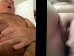 Girl with toy, man wanking