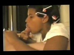 Ebony Wife Make Oral in White Dick