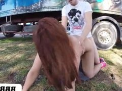 Big Tit Brunette Sarah Gets Fucked in Public