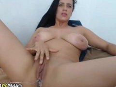 Big Tit Babe Rubs Pussy on Webcam
