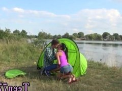 Double teen handjob first time Eveline getting banged on camping site