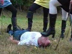 German Femdom - trample shoe worship spit