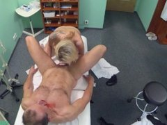 Blonde babe rides his doctors big cock on examination bed