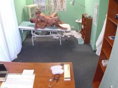 Slim blonde babe gets fucked on examination table