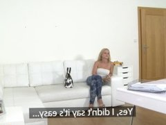 Amazing natural tits blonde fucks agents hard cock to get the job