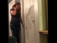 Watch girl pee pants when locked out of restroom at party
