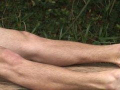 Horny latin stud jerking off in the park