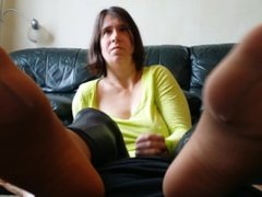 Sexy Chell - Feet in Face Handjob FootJob
