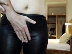 Groping MILF's ass and pussy in tight leotard yoga pants