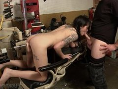 Dark Haired Vixen Hops on the Fucking Machine Sucks Cock & Swallows