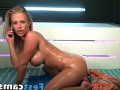 Blonde big boobs and big butt make erotic sho