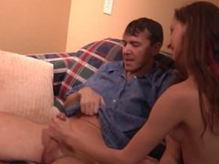 Daddy has money, but she has her young, little hands around his hard cock