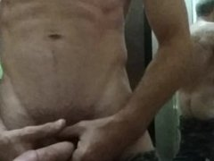 Guy playing with his dick and ass