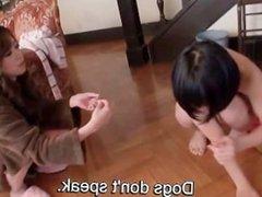 Subtitled Maki Hojo and Saaya Takazawa CFNF femdom hell